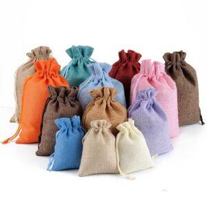 Мешочки из мешковины для украшений, цена указана за 100 шт. арт.00021