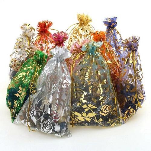 Мешочки из органзы с рисунком, цена указана за 100 шт.